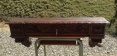 Antique Vintage French Ornate Wooden Console - Shelf & Drawer, Mantle (2417)
