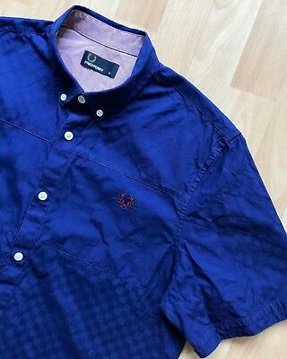 FRED PERRY SHORT SLEEVE BLUE CHECK SHIRT M mod casuals classic weller ska laurel