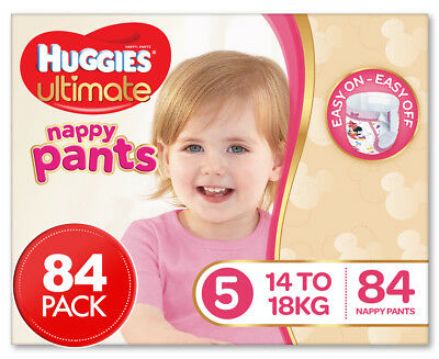 Huggies Ultimate Girls' Size 5 14-18kg Nappy Pants 84pk