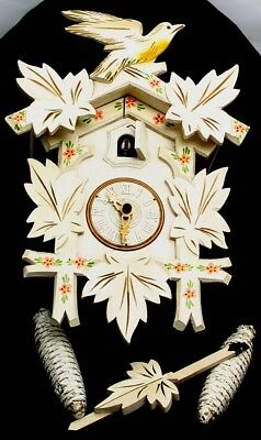 Hubert Herr Black Forest German Cuckoo Clock Carved & Handpainted