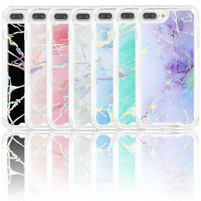 For iPhone X 6S 6 7 8 Plus Girl Glitter Marble Shockproof Hard Back Case Cover