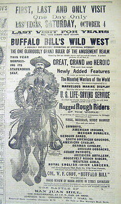 1902 New Mexico TERRITORY newspaper w large illus BUFFALO BILL WILD WEST SHOW AD
