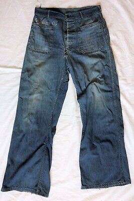 9d66e78a2 Original WWII U.S. Navy Denim Dungarees Trousers NAMED Size 32W x 32L
