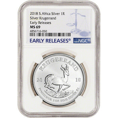 2018 South Africa Silver Krugerrand 1 oz 1 Rand - NGC MS69 - Early Releases
