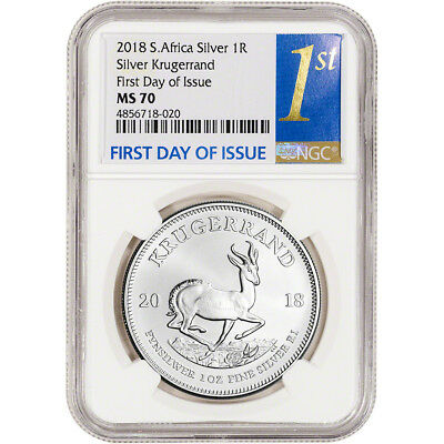 2018 South Africa Silver Krugerrand 1 oz 1 Rand - NGC MS70 First Day Issue 1st