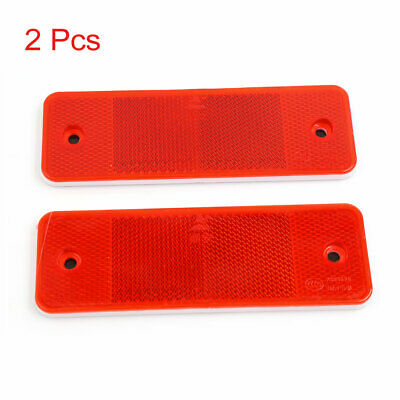 2 Pcs Red Plastic Rectangular Self Adhesive Reflective Car Auto Sticker Decal