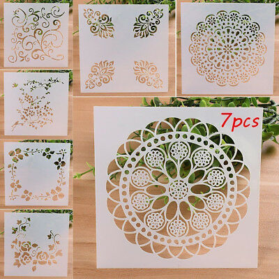 7PCS/LOT Craft Embossing Template Wall Painting Layering Stencils Scrapbooking