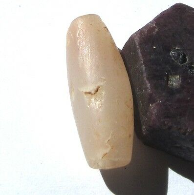 RARE LARGE GORGEOUS ANCIENT PALE PINK AGATE OVAL MALI BEAD 13mm x 31mm