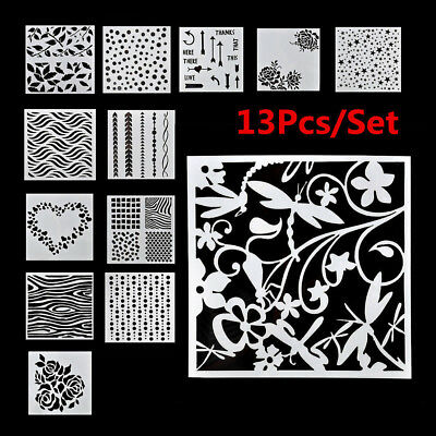 13pcs/lot Embossing Template Scrapbooking Walls Painting Layering Stencils
