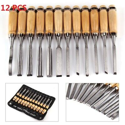 12 Kit Woodworking Carving Chisels Wood Working Professional Gouges Tool Set
