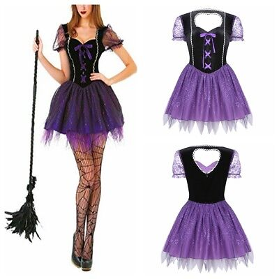 Wicked Witch Women's Halloween Sexy Tulle Velvet Fairytale Dress Cosplay Costume