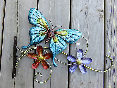 Plant Hanger Metal Butterfly Flowers Multi-Colored  Hook 15x9 in.includes screws