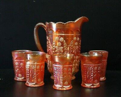 Fenton Butterfly And Berry Carnival Glass Marigold Jug And Five Glasses. C1920