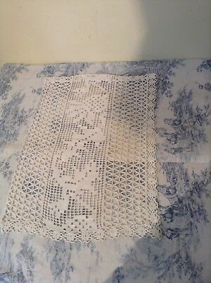 Vintage Hand Made French Cafe Style Curtain - Crochet Lace Cream (2305c