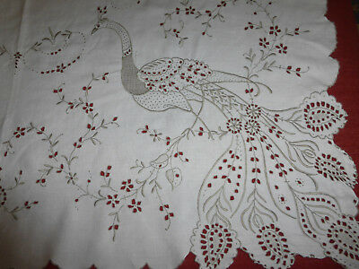 Stunning Madeira Embroidered Linen tablecloth, Peacocks, scalop edge