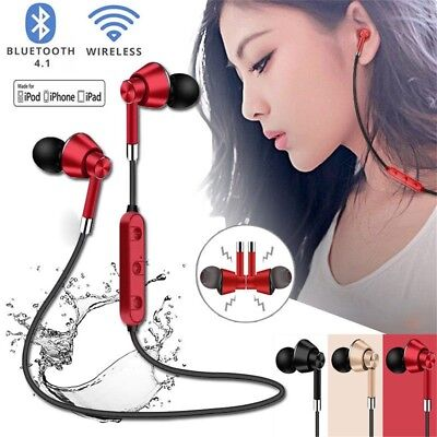 Sweatproof Magnetic Wireless Bluetooth Sports Earphones Stereo Headset With Mic