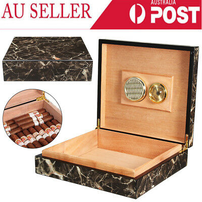 25 Count Marble Cedar Wood Lined Cigar Humidor Humidifier & Hygrometer Case Box