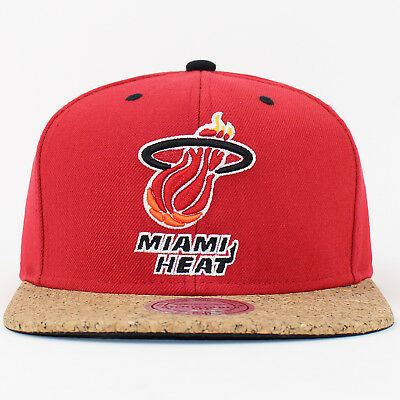 Mitchell & Ness Snapback Cap Miami Heat NBA Cork Visor Baseball Hat