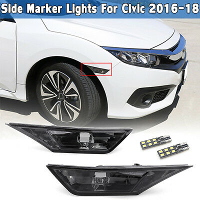 Smoked Side Marker Signal Lights Lamp T10 LED Bulbs For Honda Civic 2016-2018