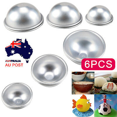6Pc 3D Aluminum Ball Sphere Pan Cake Chocolate Mould Non-sticking Cake Soap Mold