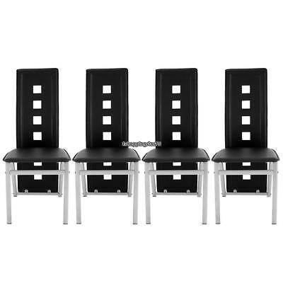 Set Of 4 Black Leather Dining Chairs High Back Room Furniture