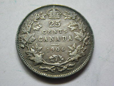 Canada 1906 25 Cents (Fine) Large Crown