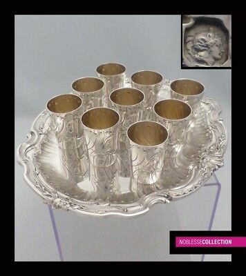 ANTIQUE 1890s FRENCH FULL STERLING SILVER CUPS & TRAY LIQUOR SET 10 pc Rococo st