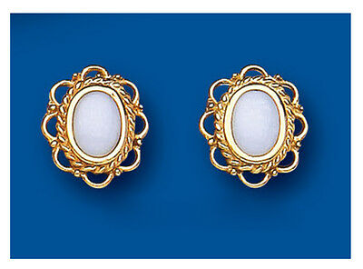 Real Opal Stud Earrings Solid 9 Carat Yellow Gold Studs