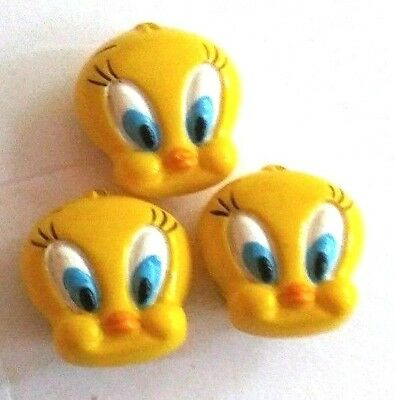 Set of 3 Tweety Bird Button Covers, Looney Tunes Fits 5/8 Button Cartoon