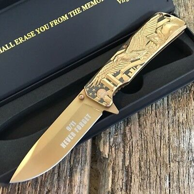 Master Collection Never Forgot 9/11 2001 Collector Bronze Eagle Medallion Knife