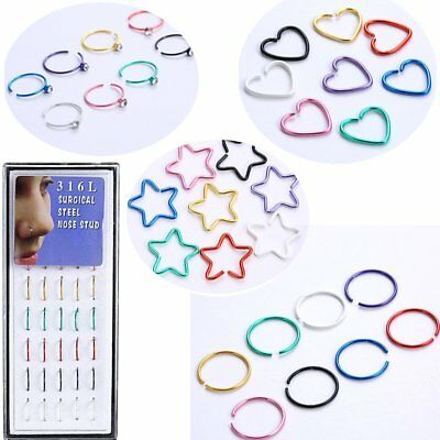 Colorful 40Pcs 1 Box Crystal Stainless Steel Nose Stud Ring Hoop Body Piercing