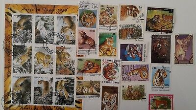 25 Different Tiger Stamps Collection