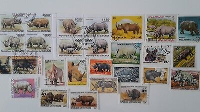 25 Different Rhinoceros Stamps Collection