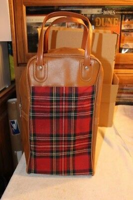 """Vintage Red Plaid Lunch & Thermos Carrier Retro Classic 14"""""""