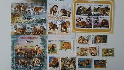 25 Different Lion Stamps Collection