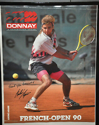 """ANDRE AGASSI """"French Open 1990"""" Donnay Tennis Poster Vintage (68)"""
