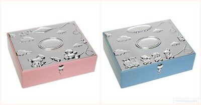 Baby Boy Girl Keepsake Box Silver Plated Pink Blue Christening Gift Box