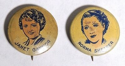 ESZ8058 Vintage Lot of 2 Movie Star JANEY GAYNOR & NORMA SHEARER Buttons 1930s [