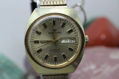 Vintage Waltham Automatic 17j Gold Tone Day/Date Men's Wrist Watch Running