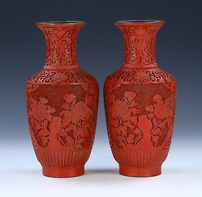 Pair Chinese Red Cinnabar Lacquer Vases