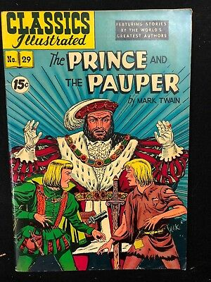 CLASSICS ILLUSTRATED #29 The Prince and the Pauper by Mark Twain (HRN 93) FINE
