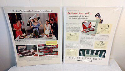 1847 Rogers Bros Silverware Advertising Lot of 2 Xmas Eve Gift 1929 Sexist VTG