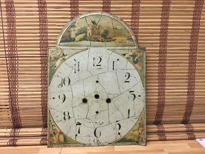 ANTIQUE LATE 1700's PAINTED LONGCASE CLOCK FACE LEITH SCOTLAND I THINK