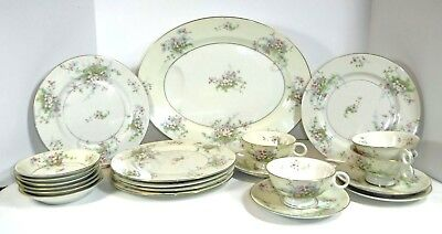 Haviland Apple Blossom Dining Set: Plates, Cups/Saucers, Sauce Dishes, Platter