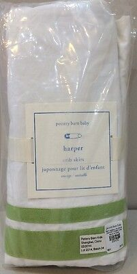 NIP Pottery Barn Kids Baby Green Classic HARPER Cotton Crib Bed Skirt