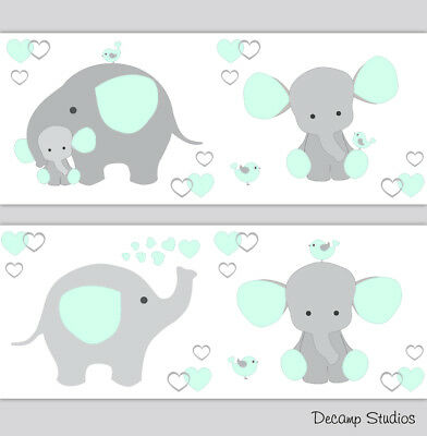 Elephant Nursery Mint Green Gray Baby Wallpaper Border Wall Art Decal Stickers
