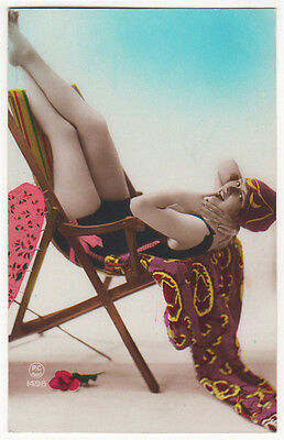 Art Deco Bathing Beauty Striking Pose Original Antique Photo Postcard