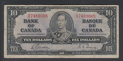 1937  $10 Dollars - Gordon Towers - Prefix U/D - Bank of Canada - F395