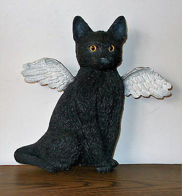 "Angel Black Cat Wall / Shelf Decoration W / Realistic Eyes 8"" X 8.5"""