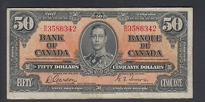 1937  $50 Dollars - Gordon Towers - Prefix B/H - Bank of Canada - E912